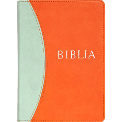 Biblia – revideált új fordítás, narancs-kék, puhatáblás, közepes
