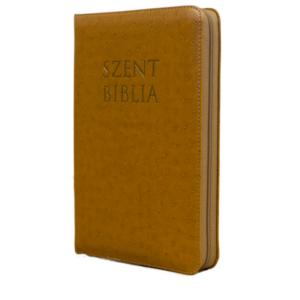 Szent Biblia – Patmos, Károli (közepes, cipzáras) barna strucc mintás